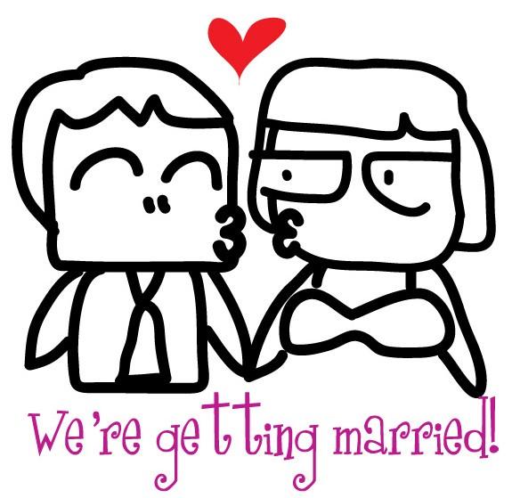 结婚简笔画图片大全